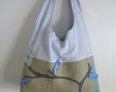 SALE - Burlap Tote Bag Medium with Lining and Blue Quilted Leaf Motif