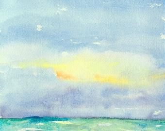 "Watercolor landscape, impressionist beach scene ocean and sky original watercolor painting, 9"" x 12"" Vibrant Sea"