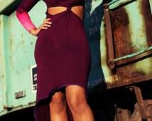 Purple Bleached Sleeve Cut Out Twist Knot Design Dress w/ Hi-Lo Hem S/M