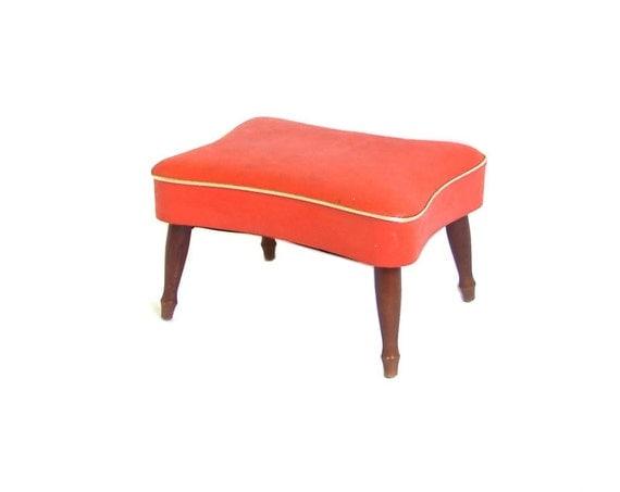 Vintage Orange Footstool Ottoman Orange Gold Vinyl Footrest Mid Century Modern Furniture Atomic Foot Stool Retro Furniture