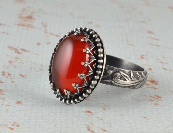 carnelian ring in sterling silver oval orange brown