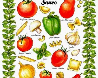 Retro Kitchen Print, Vintage Kitchen Art, Retro Food Print, Italian Tomato Sauce,  Marinara Sauce, Hostess Gift, Housewarming Gift