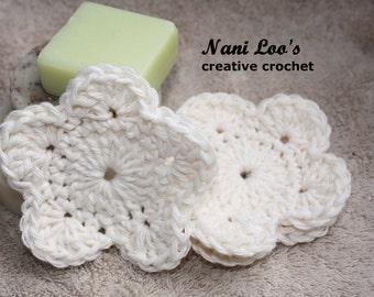 FLORAL FACE SCRUBBIES 100% cotton. 3 scrubbies.   reuseable.  Earth Friendly