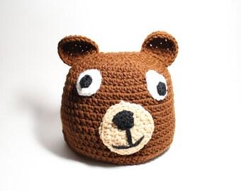 Brown Bear Hat With Ears Crochet Animal Beanie Winter Skullcap