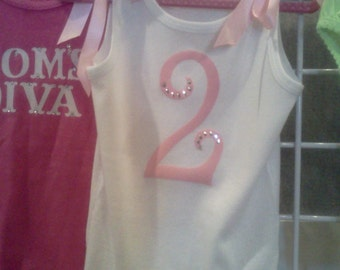 CUSTOMIZED PRETTY GIRL, Birthday Tank top with satin bows and adorned w/crystals for that Blingalicious affect