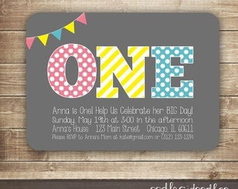 ONE Birthday Invitation, 1st Birthday Invitation, First,  2nd, 3rd Girl's Birthday, Pink, Yellow, Turquoise Invitation, Printed or Printable