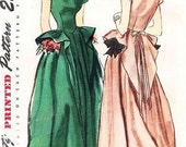 40s GLAM Evening Gown Formal Party Dress Simplicity 2219 Vintage Sewing Pattern Flattering Sweetheart Neckline Swallow Tail Peplum Gown