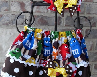 Girls two layered skirt with M&M's and brown polka dots