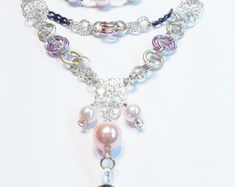 Pink Black Gold Pearls Necklace Earring