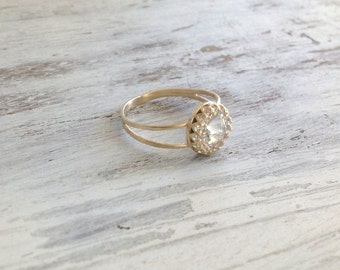 Gold ring, wedding ring, stacking ring, vintage ring, stackble ring, clear crystal ring, stackble gold ring, white 7020