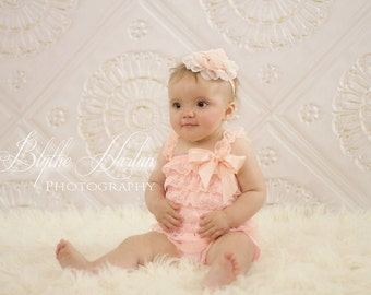 NEW Blush Peach Lace Petti Romper, baby romper, baby girls Romper, Birthday outfit, toddler outfit, baby gifts, romper, wedding flower girl