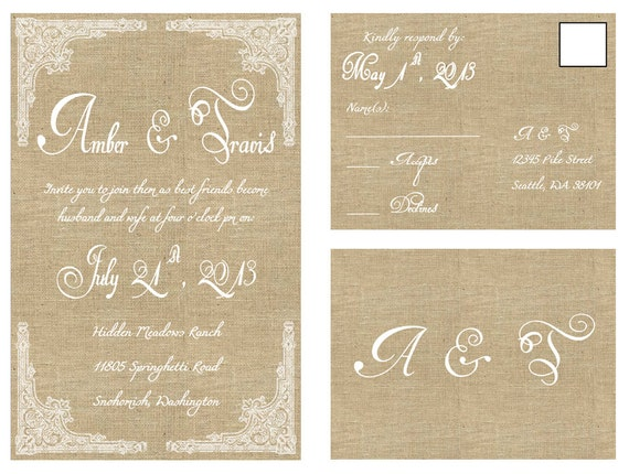 items similar to rustic chic wedding invitation - printable on etsy, Wedding invitations