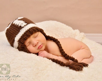 Baby Football Hat, Football Beanie, Football Hat, Baby Football Beanie, Children's Football Hat Baby Knitted Football Hat with Ear Flaps