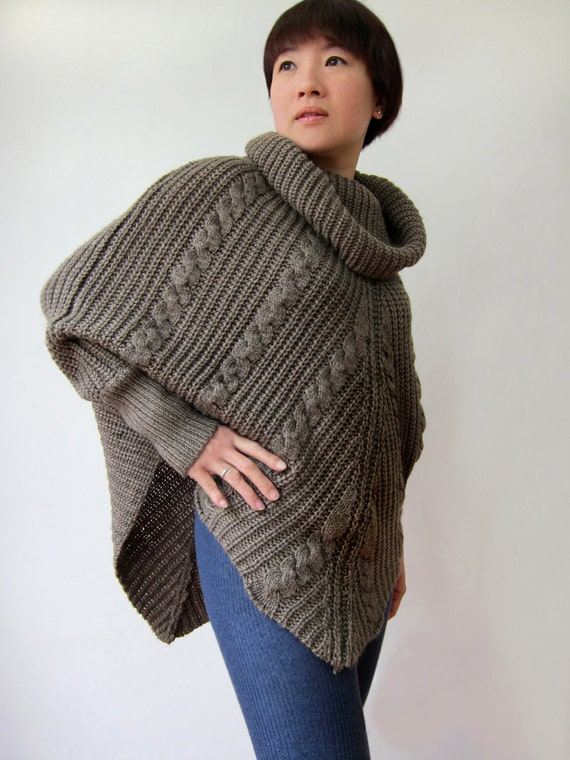 Knitting Pattern For Cape With Sleeves : Hand knitted cabled poncho with sleeves / Knit by SoftyWooly