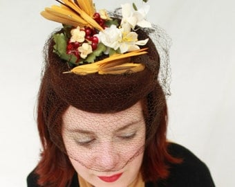 In-Stock: Vintage 1940s-Style Brown Velour Felt Tilt Topper with Vintage Veil, Flowers, and Two Faux Birds