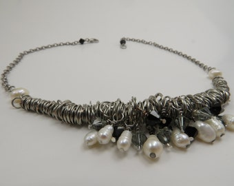Shades of Grey and Pearl Necklace - READY TO SHIP - Freshwater Pearl & Swarovski Crystal Necklace - Handmade Jewelry - Inspired by the Loft