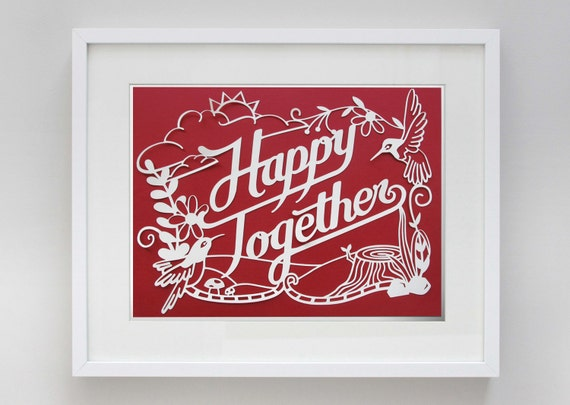 8 1/2 x 11 in Happy Together Papercut
