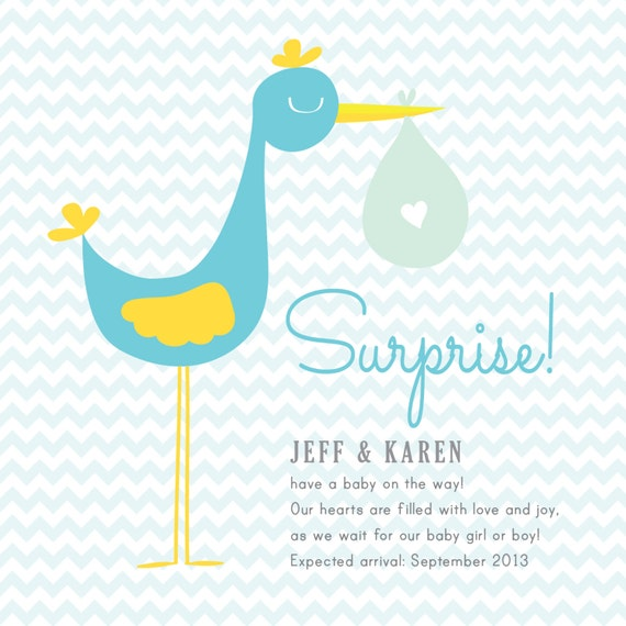 Stork Pregnancy Announcement Cards ELECTRONIC Print File for – Stork Birth Announcement