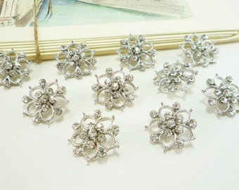 Crystal Flower Rhinestone Button (20mm, 10 pcs)