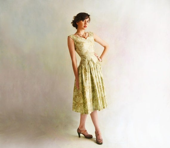 Mint and Gold Garden Party Dress // 1950s Full Sweep Floral Dress // Drop Waist // Small // Extra Small