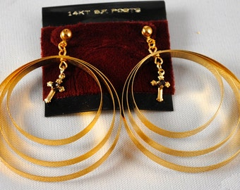 Earrings Vintage Hoops Cross Earrings Gold Toned 1960s