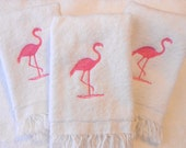 Flamingo Towels, Three Bathroom Or Powder Room Towels, Bright Pink Embroidered Design