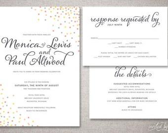 """Whimsy Confetti """"Monica"""" Wedding Invitation Suite - Polka Dot Champagne Bubbles Calligraphy Script Invitations - Printable or Printed Invite"""