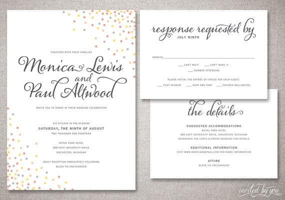 Whimsy Confetti Monica Wedding Invitation Suite