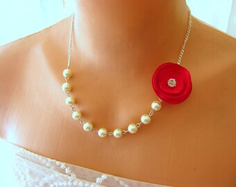 Bridesmaid gift, pearl necklace, bridal jewelry, gift for her