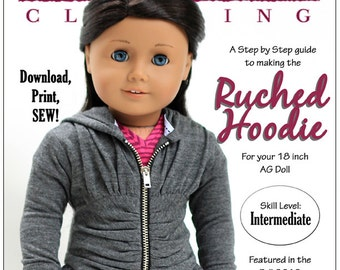 Pixie Faire Liberty Jane Ruched Hoodie Doll Clothes Pattern for 18 inch American Girl Dolls - PDF
