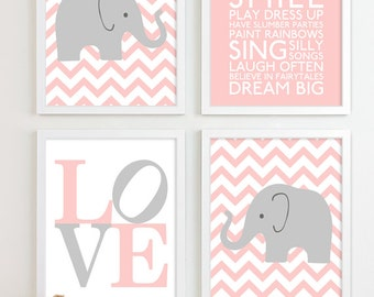 Baby Girl Nursery Art Chevron Elephant Nursery Prints, Kids Wall Art Baby Girls Room Baby Nursery Decor Playroom Rules Quote Art