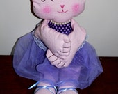 Pink Ballet Kitty Cat, Fabric Doll, Plushie, Softie with Ballet Slippers and TuTu