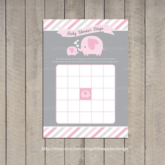 Baby Shower Bingo / Elephant Baby Shower Bingo / Elephant Bingo / Pink Elephant Baby Shower Bingo / Elephant Printable