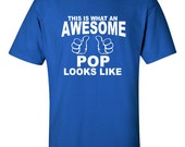 Fathers Day T-Shirt An AWESOME POP Gift for Dad T-Shirt MensTshirt t shirt Grand dad Grandfather Tshirts gift PapaTshirt for Dad S-3XL