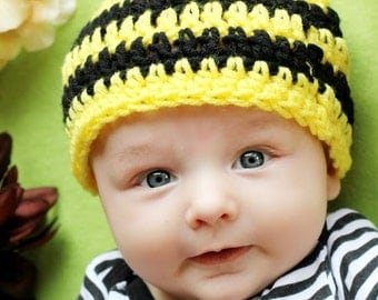 Baby Bumble Bee hat with antennas Boy or Girl, 1-2 lb micro 2-3 lb micro preemie, preemie, newborn, 0-3 month, 3-6 month, 6-12 month, 1-3 yr