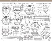 "Digital Stamp Art "" Owl Luv You """