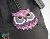Owl Bag Charm / Keychain / Keyring / Ornament / Zipper Pull - Purple Shades Wool Mix Felt - Handmade Gift Box