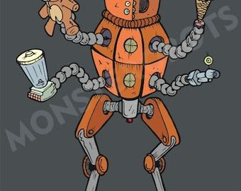 "Orange robot with teddy bear and ice cream, Art - ""Multi-Bot"" - 13x19 Digital Print"