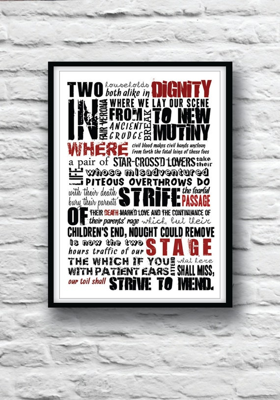 ROMEO and JULIET Shakespeare quote Minimalist poster