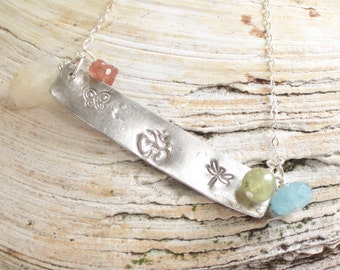 inspirational jewelry, silver bar necklace, dragonfly butterfly necklace, hand stamped jewelry, yoga