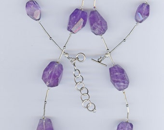 "Necklace Amethyst Necklace Large Chunky Amethyst Necklace, ""Lilac Hail"""