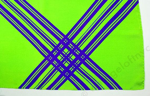1960 Italian Silk Twill Scarf Pop Art Graphic Plaid Colorblock  Warhol Green Purple NWOT