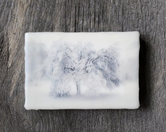 Original encaustic wall art. Encaustic Photography. Winter landscape. Snow.  Black and White. Monochromatic. 5x7