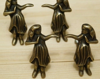 Lot of 4 pcs HAWAIIAN Hula Hula GIRL Antique Vintage Solid Brass Cabinet Drawer Pull