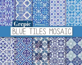 "Digital paper mosaic: ""BLUE TILES MOSAIC"" with blue lisbon mosaics / tiles for scrapbooking, invites, cards"