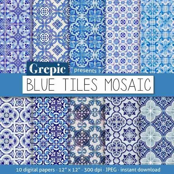Digitalem Papier Mosaik: Blaue Fliesen Mosaik mit