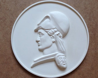 White Athena medallion - Greek wall sculpture - 3d relief