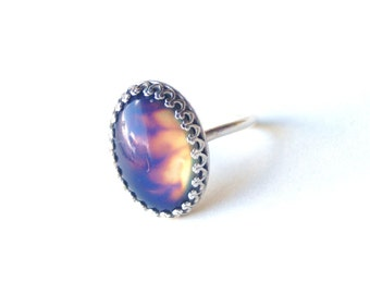 Mood Ring with Vintage Stone, Sterling Silver Crown Ring