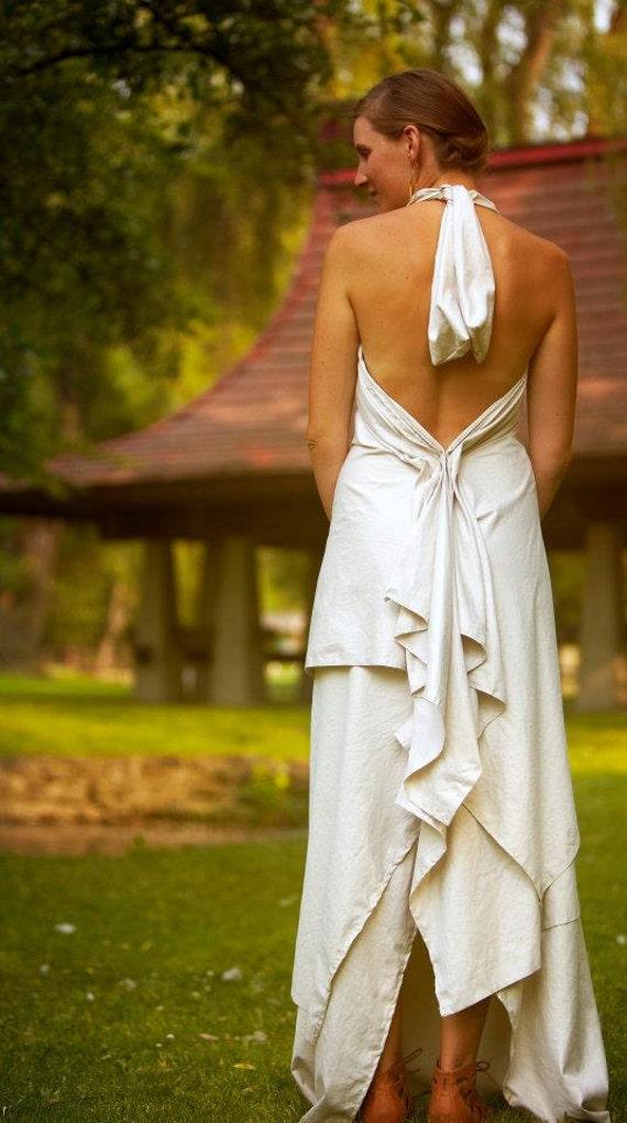 Backless Draped Wedding Dress