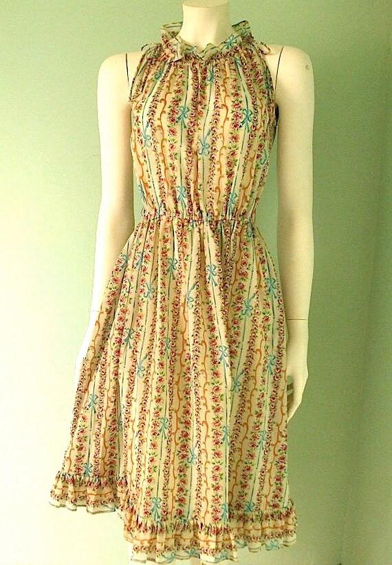 Lovely Romantic Silk Sleeveless Sheer Dress